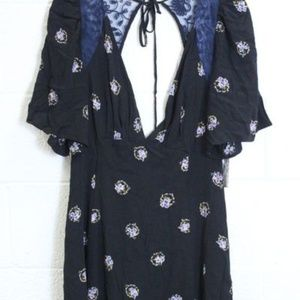 Free People Size 12 Black Floral Dress NWT